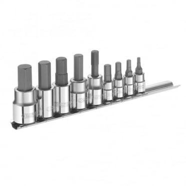 Hex Bit Socket Set 9 Piece Mixed Drive 1/4 & 3/8 in Drive