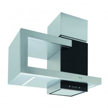 Stainless Steel and Black Glass Wall Hood