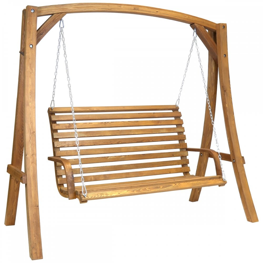 2 3 Seater Larch Wood Wooden Garden Outdoor Swing Seat