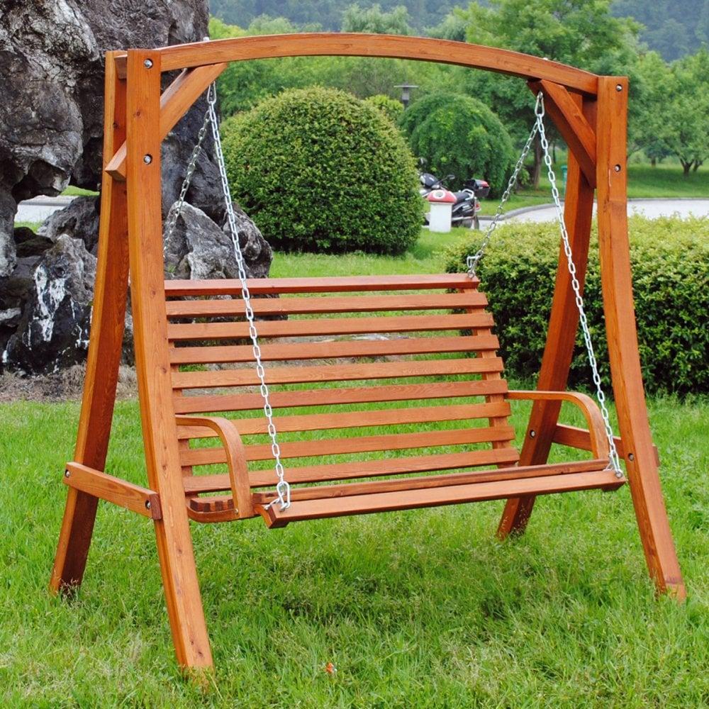 2 3 Seater Larch Wood Wooden Garden Outdoor Swing Seat Bench Hammock 1 9