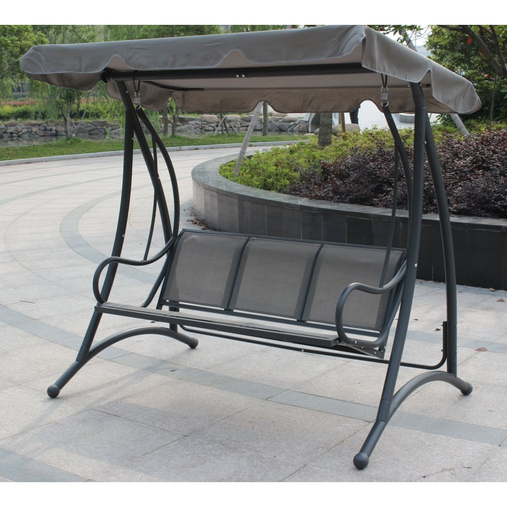Miraculous 3 Seater Outdoor Swing Seat Bench Chair Hammock W Canopy Grey Camellatalisay Diy Chair Ideas Camellatalisaycom