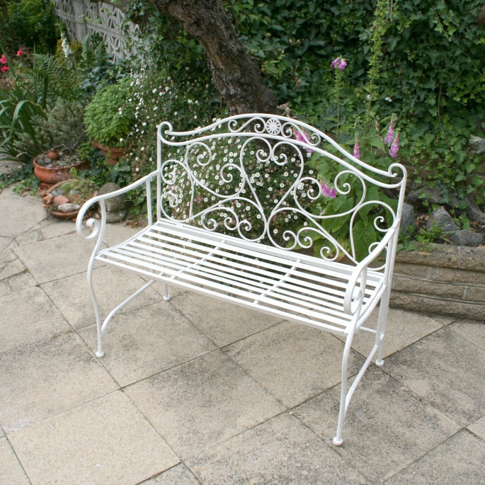 Prime Bentley Garden 2 Seater Wrought Iron Bench Metal Outdoor Seat White Theyellowbook Wood Chair Design Ideas Theyellowbookinfo