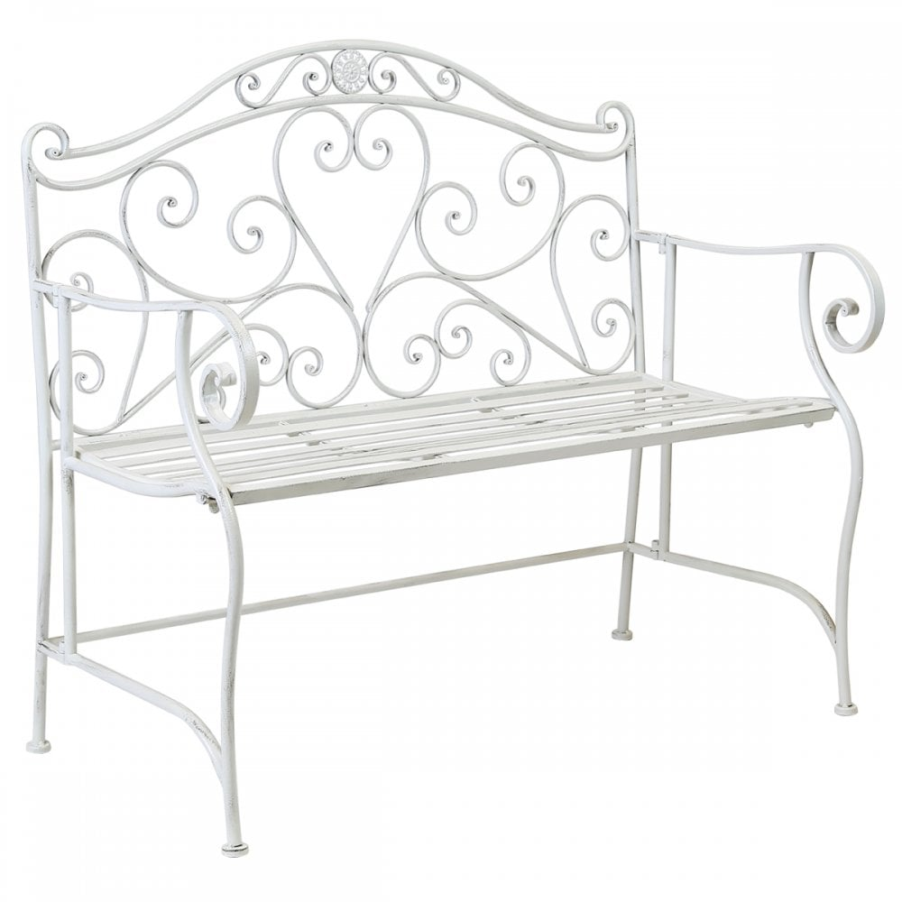 Awesome Bentley Garden 2 Seater Wrought Iron Bench Metal Outdoor Seat White Beatyapartments Chair Design Images Beatyapartmentscom