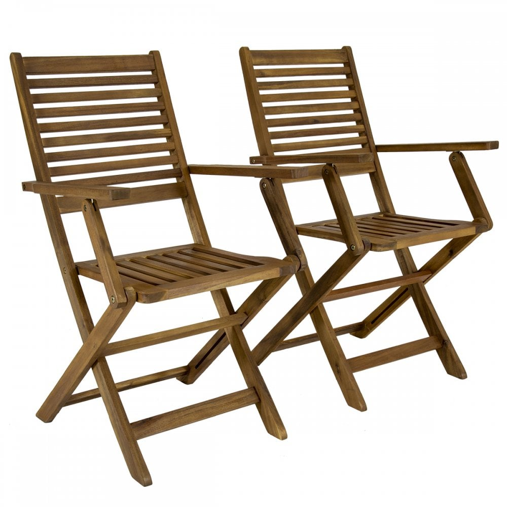 Amazing Fsc Pair Of Acacia Wood Outdoor Dining Patio Foldable Armchairs Download Free Architecture Designs Rallybritishbridgeorg