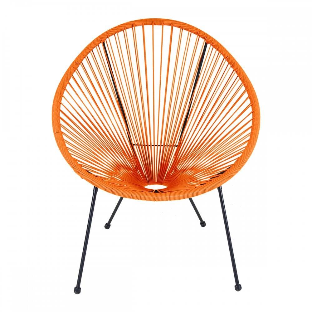Charles Bentley Charles Bentley Garden Furniture Retro Rattan Lounge  Conservatory Chair Orange
