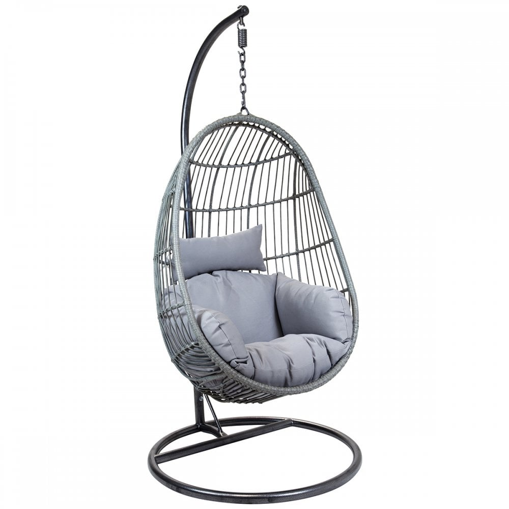 Charles Bentley Hanging Egg Shaped Rattan Swing Chair With Cushion Grey