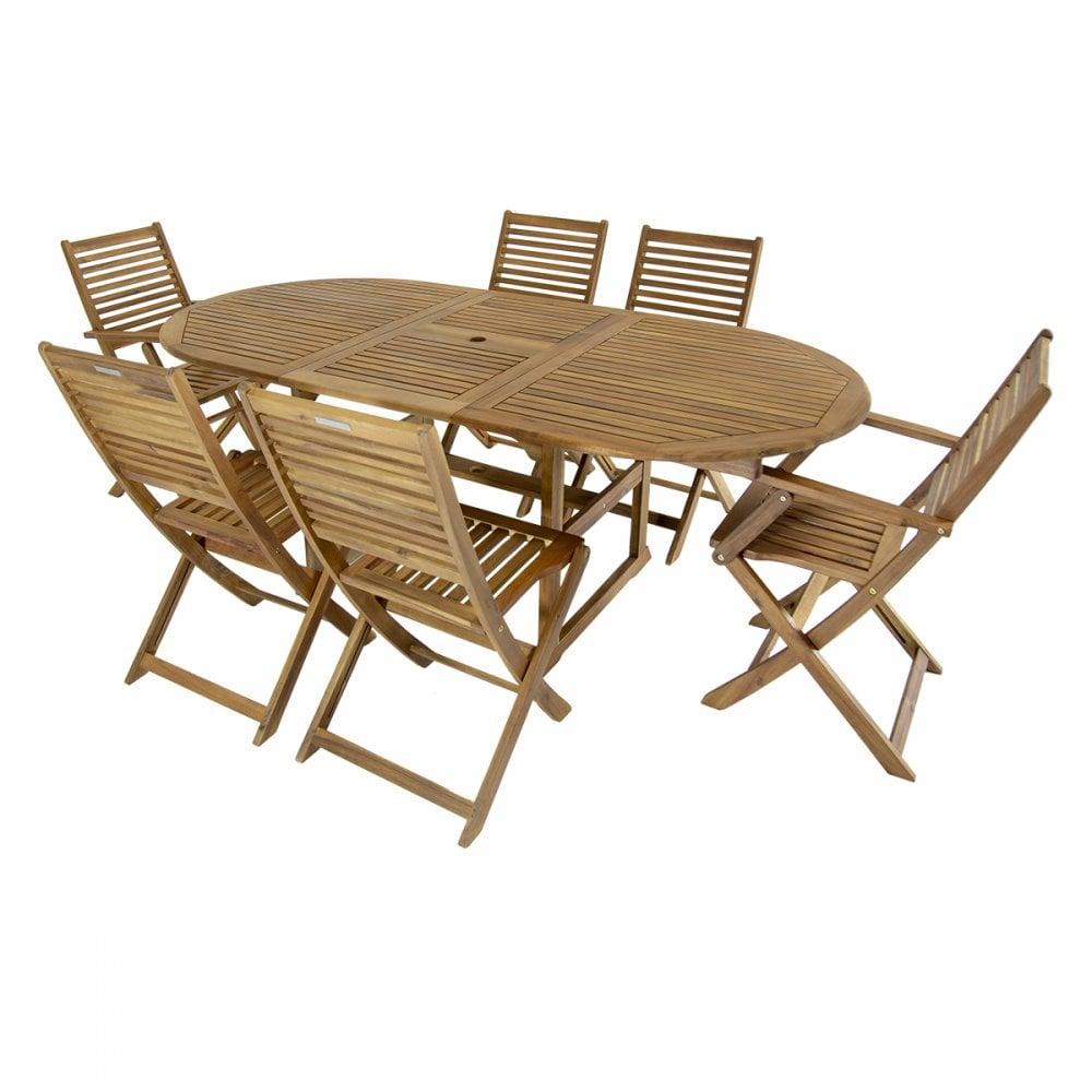 charles bentley charles bentley hardwood oval garden patio furniture set table 6 chairs