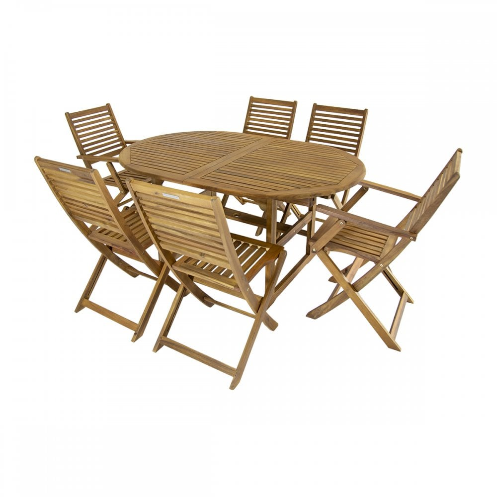 Charles Bentley Hardwood Oval Garden, Wooden Table Chairs For Garden