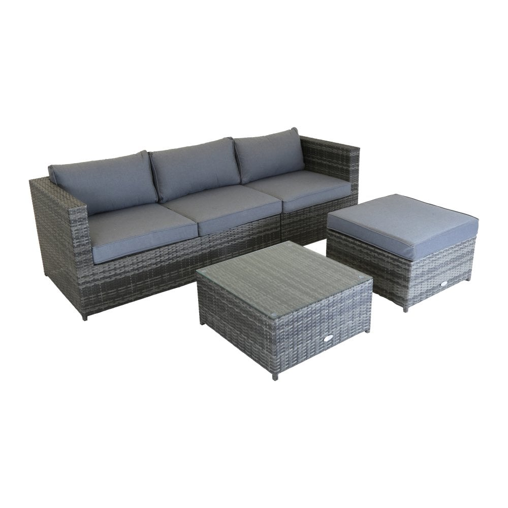 Superb L Shaped 3 Seater Outdoor Rattan Furniture Lounge Set Grey Interior Design Ideas Gentotryabchikinfo