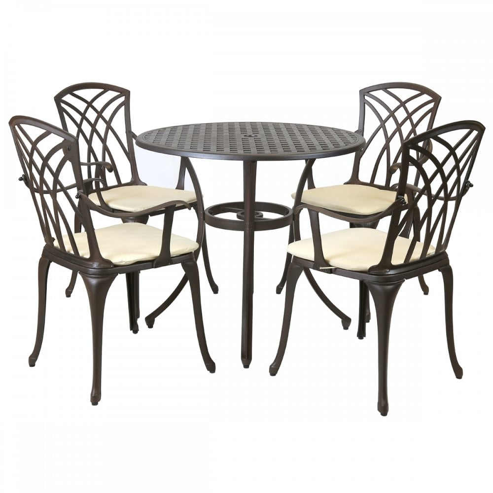 Remarkable Metal Cast Aluminium 5 Piece Garden Furniture Patio Set With Cushions Home Interior And Landscaping Ologienasavecom