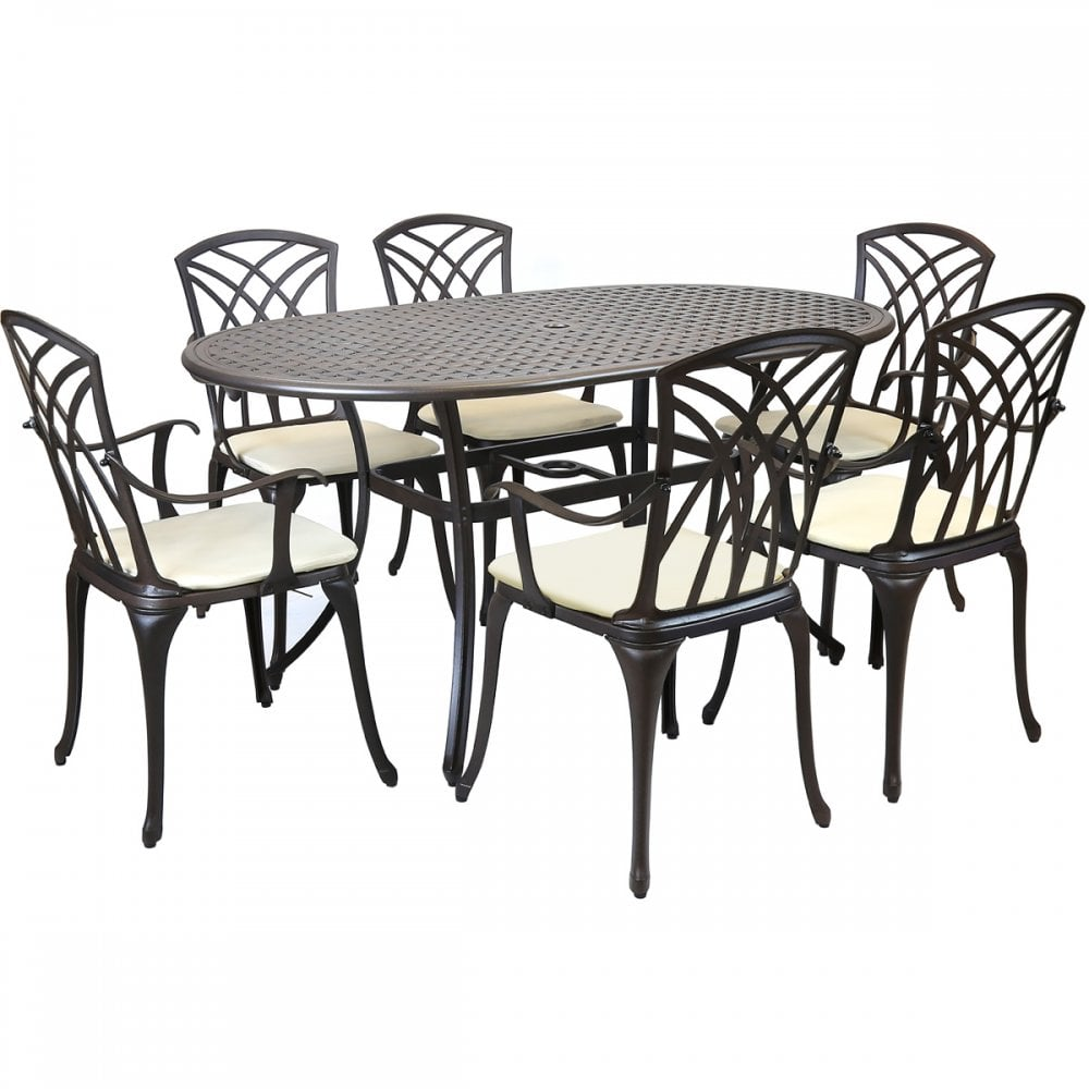 Incredible Metal Cast Aluminium 7 Piece Garden Furniture Table Patio Set With Cushions Home Interior And Landscaping Ologienasavecom