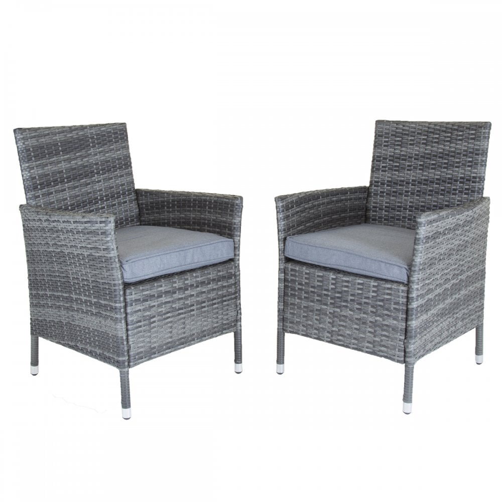 Charles Bentley Charles Bentley Napoli Pair Of Rattan Dining Chairs Garden  Furniture - Grey
