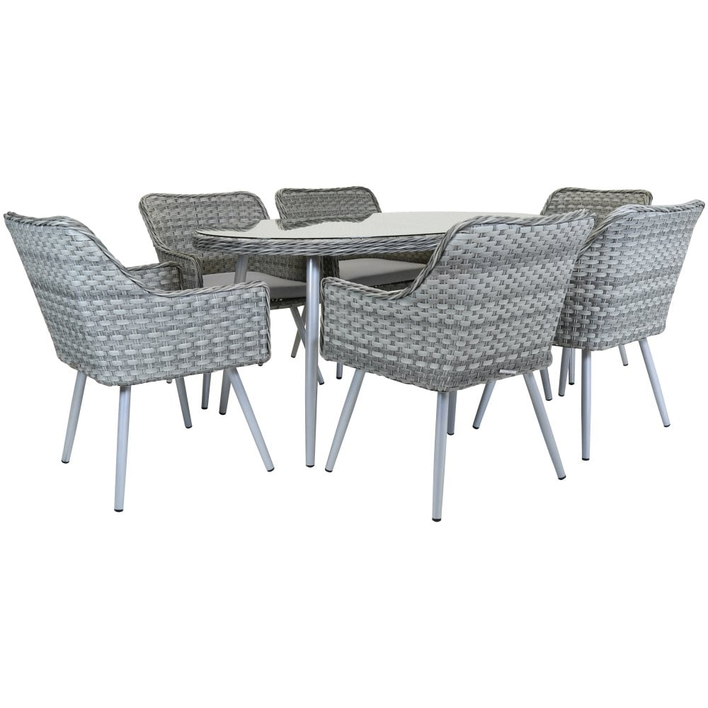 e8bbd18abc40 Charles Bentley Premium 6 Seater Rattan Dining Set Garden Furniture Natural  Sand [DISCONTINUED]