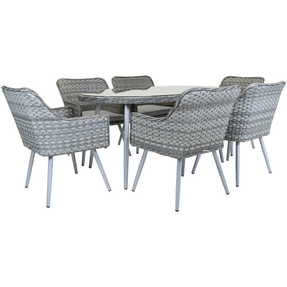 Charles Bentley Premium 6 Seater Rattan Dining Set Garden