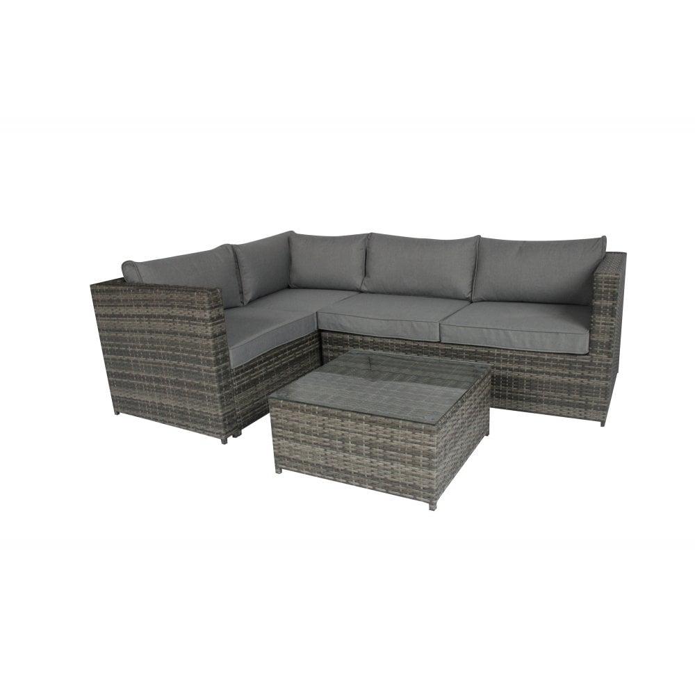 Charles Bentley Rattan Corner Sofa & Coffee Table - Grey - Garden ...