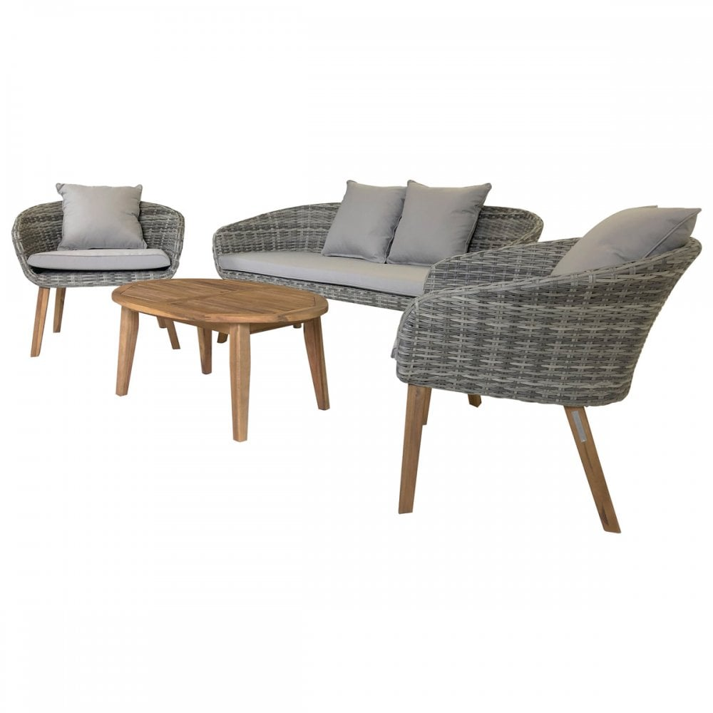 Charles Bentley Charles Bentley Rattan Hardwood Madrid Lounge Set With 2 Chairs Sofa Coffee Table