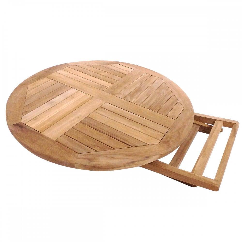 Charles Bentley Solid Wooden Teak Round, Round Wooden Table For Garden