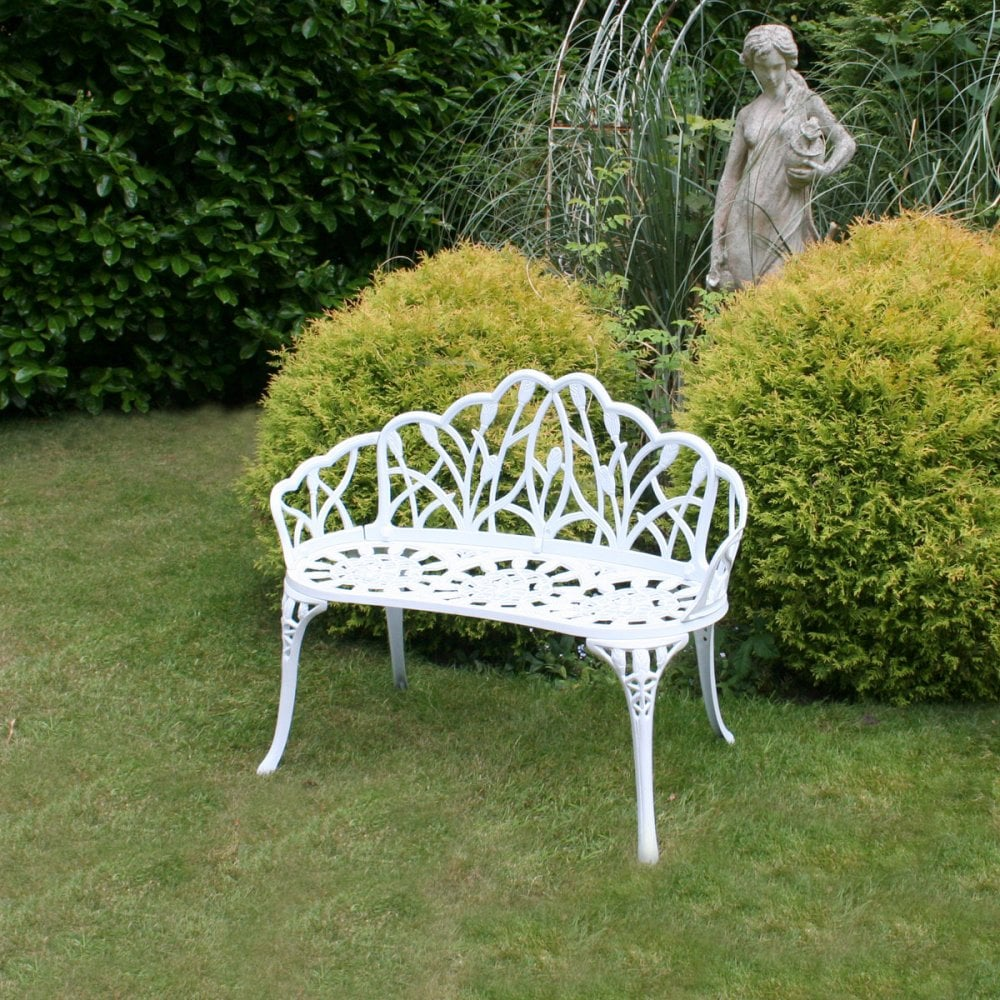 Fantastic White Tulip Cast Aluminium Metal 2 Seats Garden Patio Bench Seat Gmtry Best Dining Table And Chair Ideas Images Gmtryco