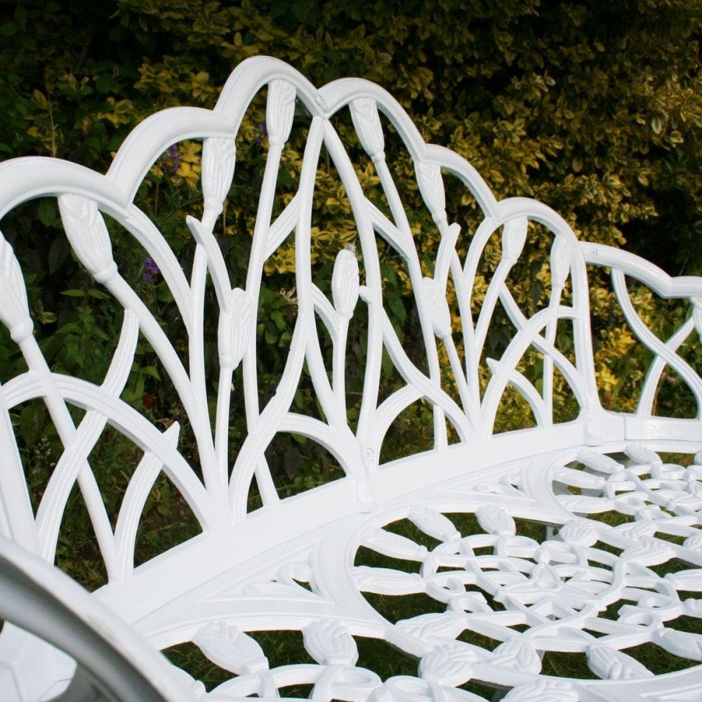 Cool White Tulip Cast Aluminium Metal 2 Seats Garden Patio Bench Seat Machost Co Dining Chair Design Ideas Machostcouk