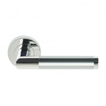 Polished Chrome Plated Rose Dual Satin Chrome Plated / Polished Chrome Plated Lever Athena Lever on Round Rose - Screw Rose
