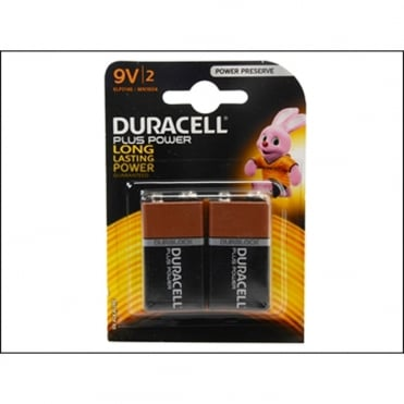 Duracell 9v Cell Plus Power Battery Pack of 2