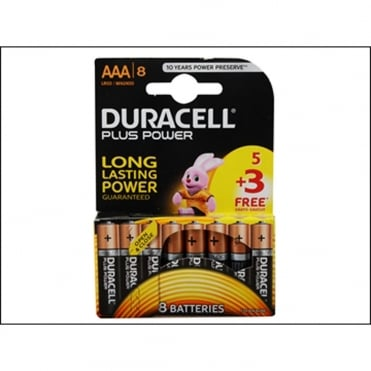 Duracell AA Cell Plus Power Batteries Pack of 8 (5+3)
