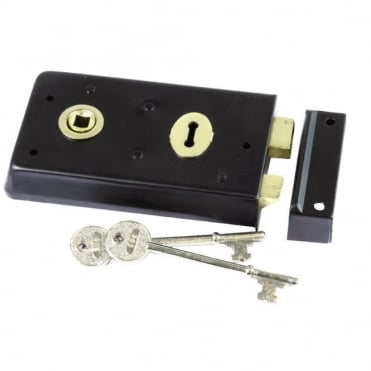 140 x 76mm Black Rim Sash Lock (Box of 5)