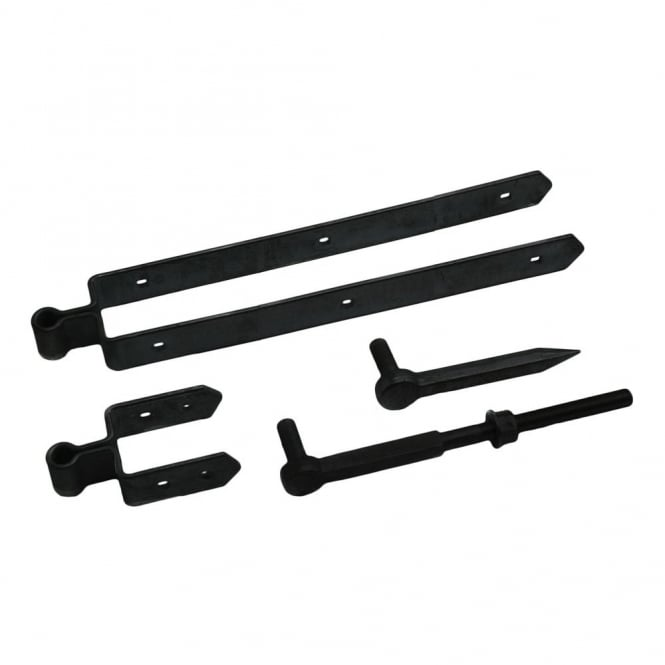 Eliza Tinsley 18inch Black Double Strap Field Gate Hinge Set 75mm