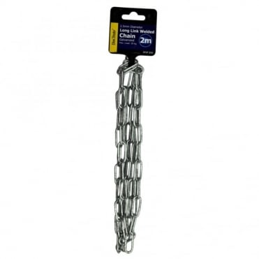 2.5mm Bright Zinc Plated (BZP) Long Link Welded Chain 2M