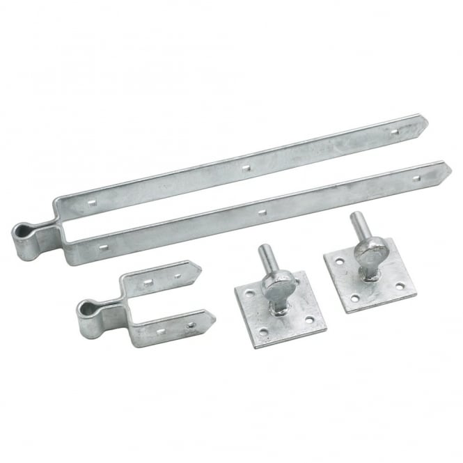 Eliza Tinsley 24inch Galvanised Double Strap Plate Field Gate Hinge Set 75mm