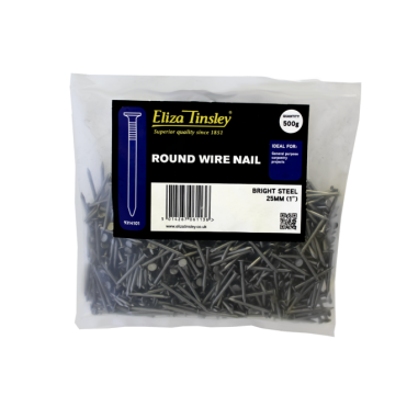 25mm Bright Steel Round Wire Nails Box of 5 Packs of 500G