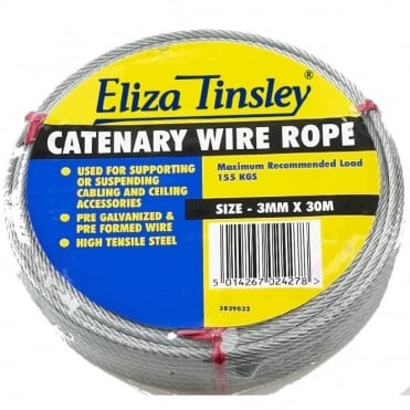 3mm Galvanised Catenary Wire 30M Coil (Box of 5)