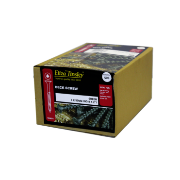 4 X 65MM Green Deck Screws Pozi Head - Box of 5 Packs of 350 Pieces
