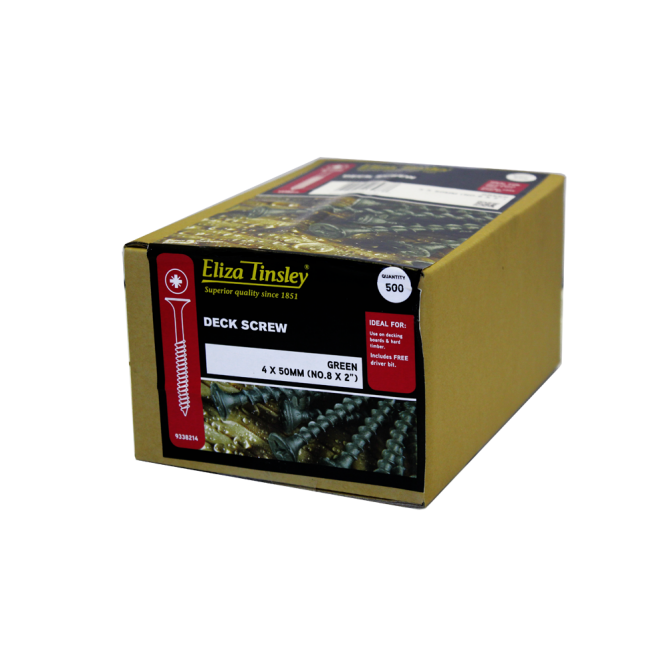 Eliza Tinsley 5 X 75MM Green Deck Screws Pozi Head - Box of 5 Packs of 600 Pieces