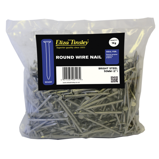 Eliza Tinsley 50MM Bright Steel Round Wire Nails - Box of 5 1KG Packs