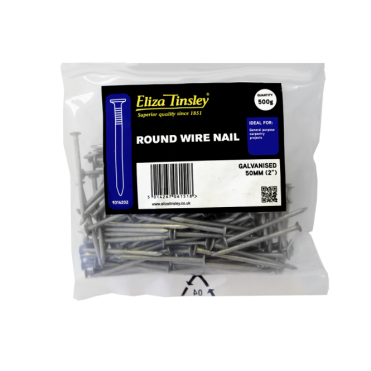 50MM Galvanised Round Wire Nail - Box of 5 Packs of 500g