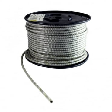 5mm 6mm Plastic Coated Wire Rope Reel - 76m