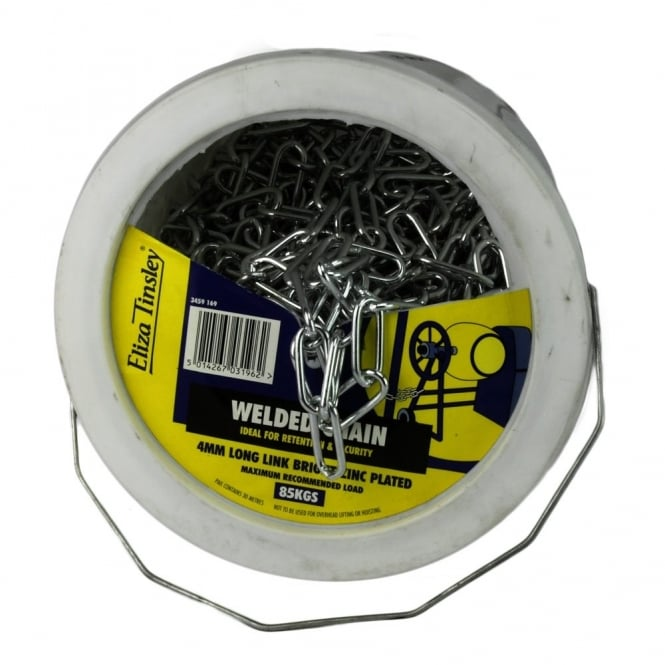 Eliza Tinsley 5mm Bright Zinc Plated (BZP) Long Link Welded Chain Pail - 25m