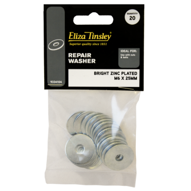 6 X 25MM Bright Zinc Plated Repair Washer - Box of 5 Packs of 20 Pieces