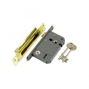 63mm Electro Brass EZR 5 Lever BS3621 Sash Lock (Box of 5)