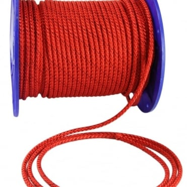 6mm Red Prestretched Polyester Rope - 100m