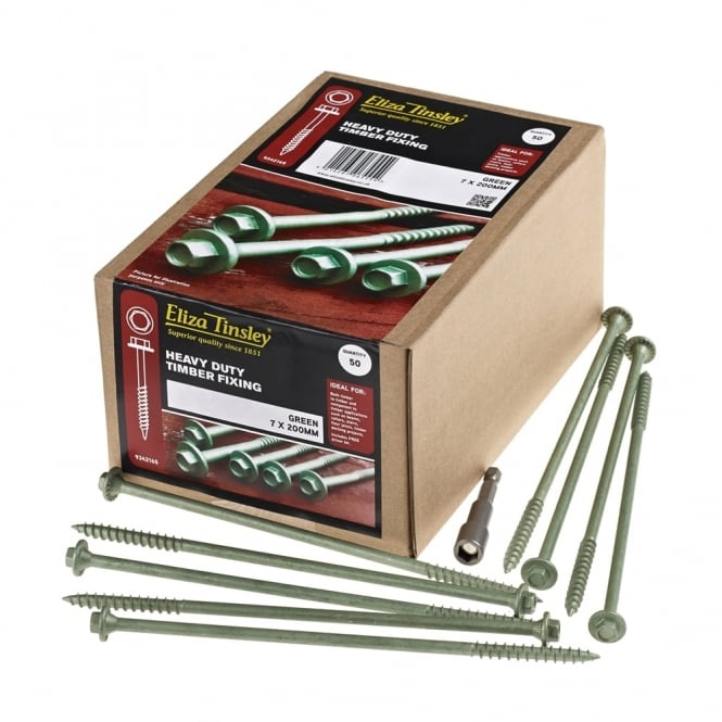 Buy Eliza Tinsley 7 X 200mm Green Timberdrive Screws 50 Pk