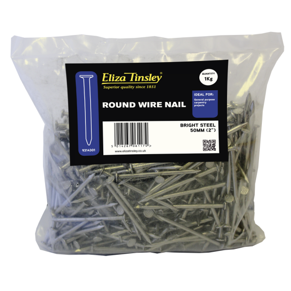 Buy Eliza Tinsley 75mm Bright Steel Round Wire Nails 1kg