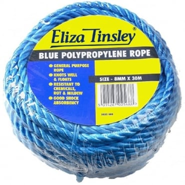 8mm Blue Polypropylene Rope - 30m