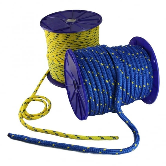 Eliza Tinsley 8mm Yellow /Blue 16 Plated Polypropylene Braid Rope (100m Reel)