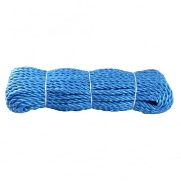9mm Blue Polypropylene Wagon Rope 27m Hank (one end spliced)