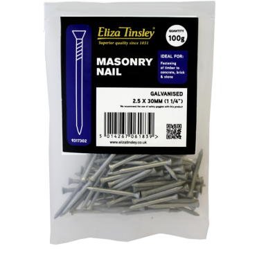 Galvanised Masonry Nails - 2.5 X 30mm Box of 5 100g Packs