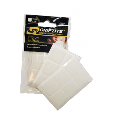GRIPTITE 25mm White Stick on Squares (Box of 6)