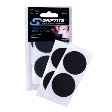 GRIPTITE 6x45mm Black Heavy Duty Stick on Coins (Box of 6)
