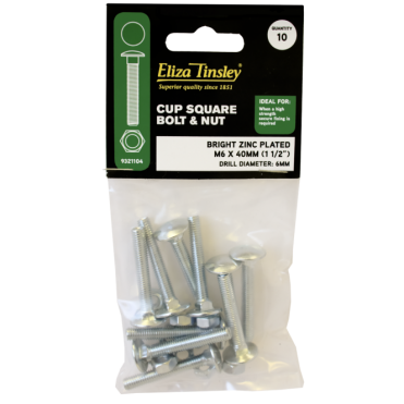 M10 X 110MM BZP Cup Square Bolt & Nut - Box of 5 Packs of 5 Pieces